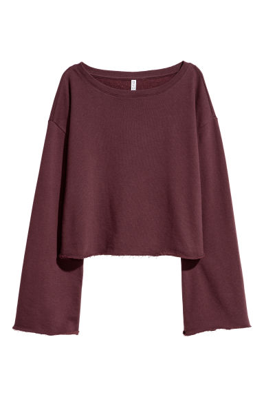 Cropped sweatshirt - Burgundy -  | H&M