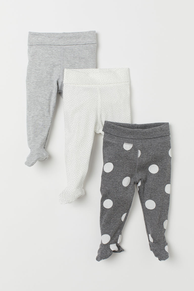 3er-Pack Leggings - Graumeliert/Gepunktet - KINDER | H&M CH