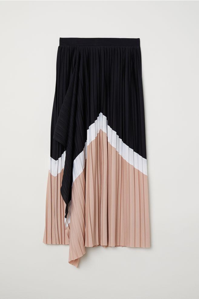 1c3ce60816c Jupe plissée à effet croisé - Noir color block - FEMME