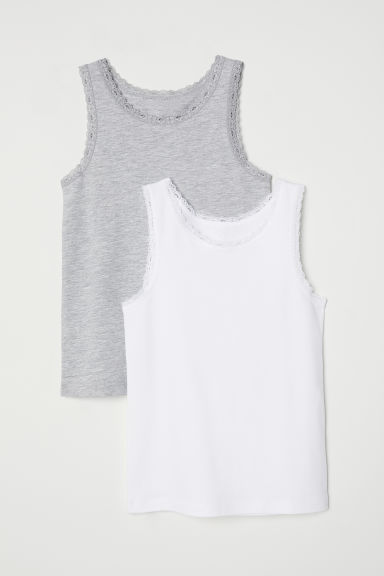 2-pack, lace-trimmed vest tops - White/Grey marl -  | H&M CN