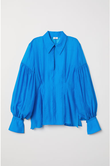 Balloon-sleeved blouse - Bright blue - Ladies | H&M CN