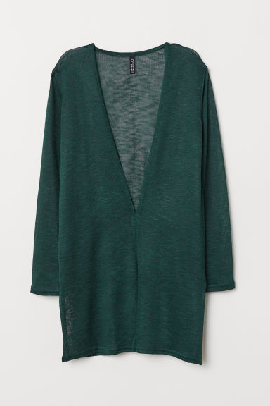 Fine-knit cardigan - Dark green - Ladies | H&M
