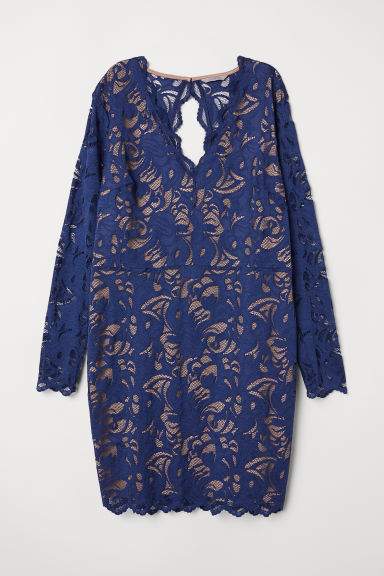 H&M+ Short lace dress - Dark blue - Ladies | H&M CN