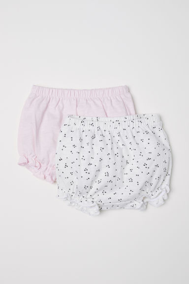 2-pack cotton shorts - White/Spotted - Kids | H&M