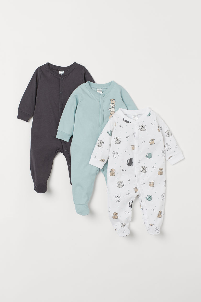 3-pack cotton pyjamas - Turquoise/Dogs - Kids | H&M