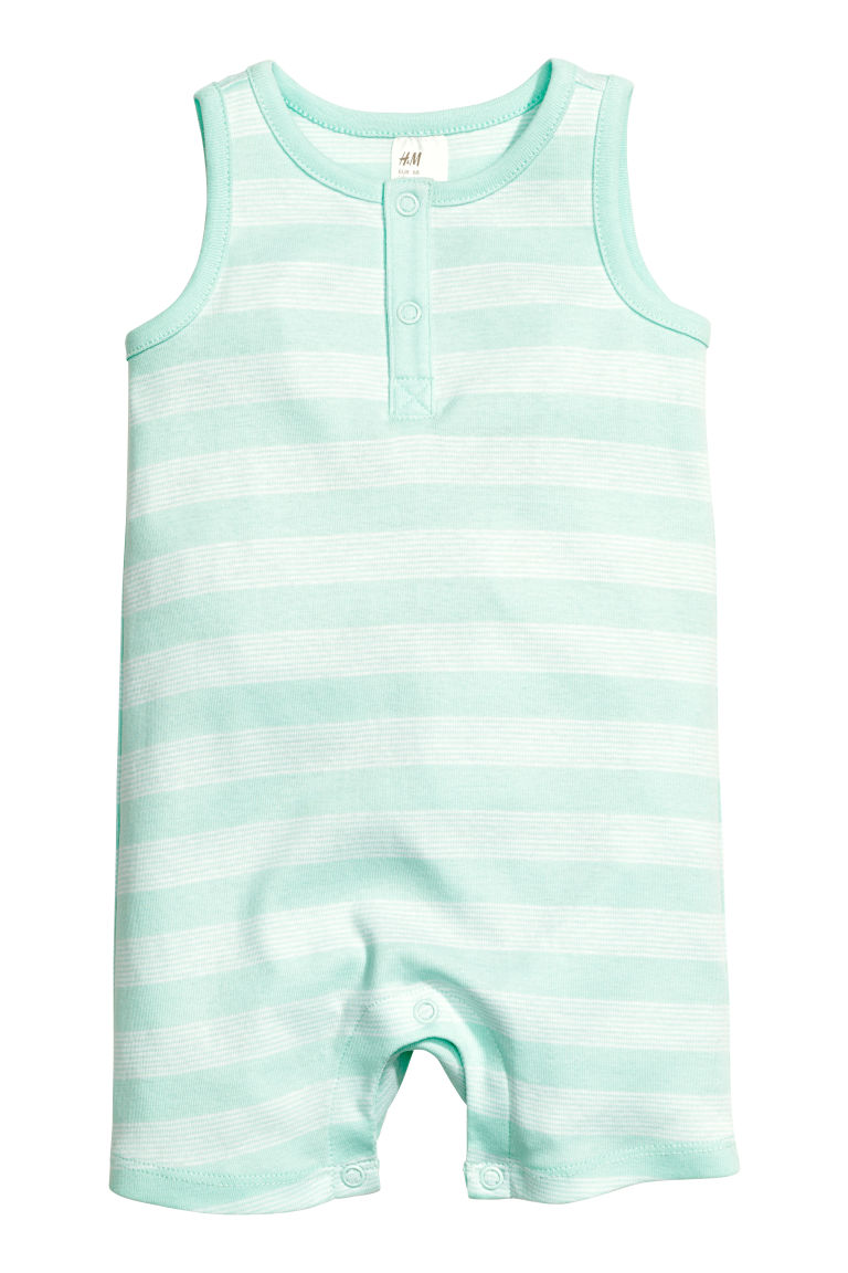 Sleeveless romper suit - Green - Kids | H&M CN