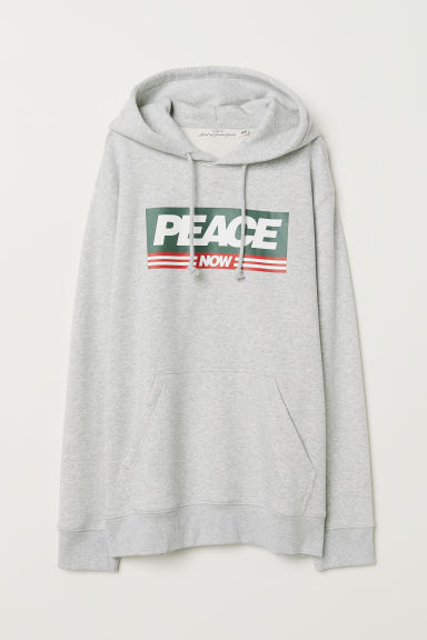 Hooded top with a motif - Light grey marl/Peace Now - Men | H&M