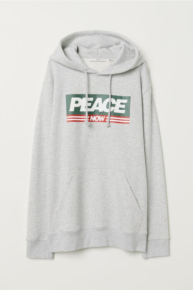 Hooded Sweatshirt With Motif Light Gray Melangepeace Now Men