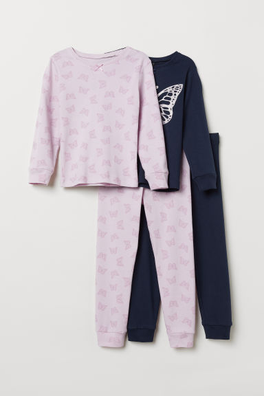 2-pack jersey pyjamas - Dark blue/Butterfly - Kids | H&M IN