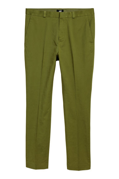 Cotton chinos Skinny fit - Green - Men | H&M CN