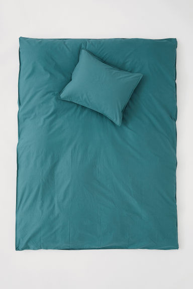 Washed cotton duvet cover set - Petrol -  | H&M CN