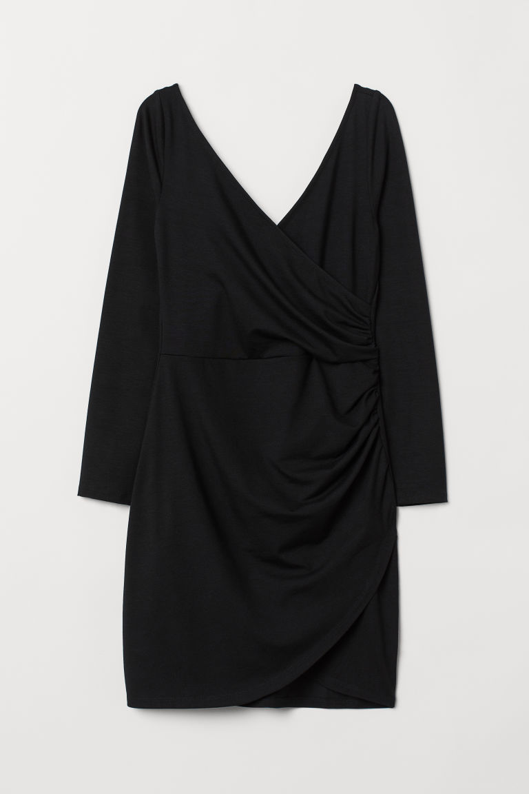 V-neck wrap dress - Black - Ladies | H&M