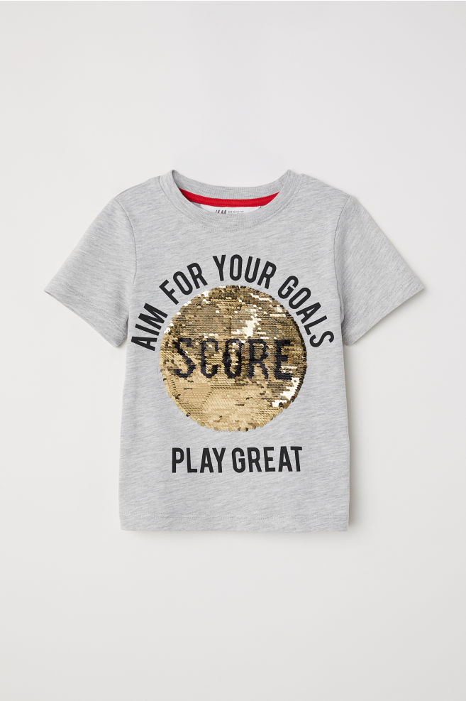 b20d4e9a5 ... Reversible Sequin T-shirt - Gray melange soccer - Kids