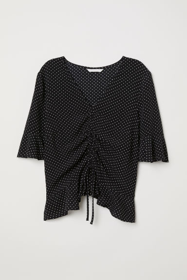 Drawstring blouse - Black/Spotted - Ladies | H&M