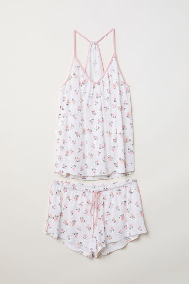 Pyjama top and shorts - White/Light pink floral -  | H&M CN
