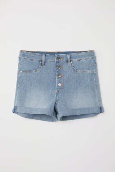 Shorts in twill High Waist - Blu denim chiaro - DONNA | H&M IT