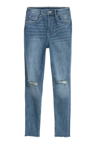Slim High Trashed Jeans - 浅牛仔蓝 - Ladies | H&M CN