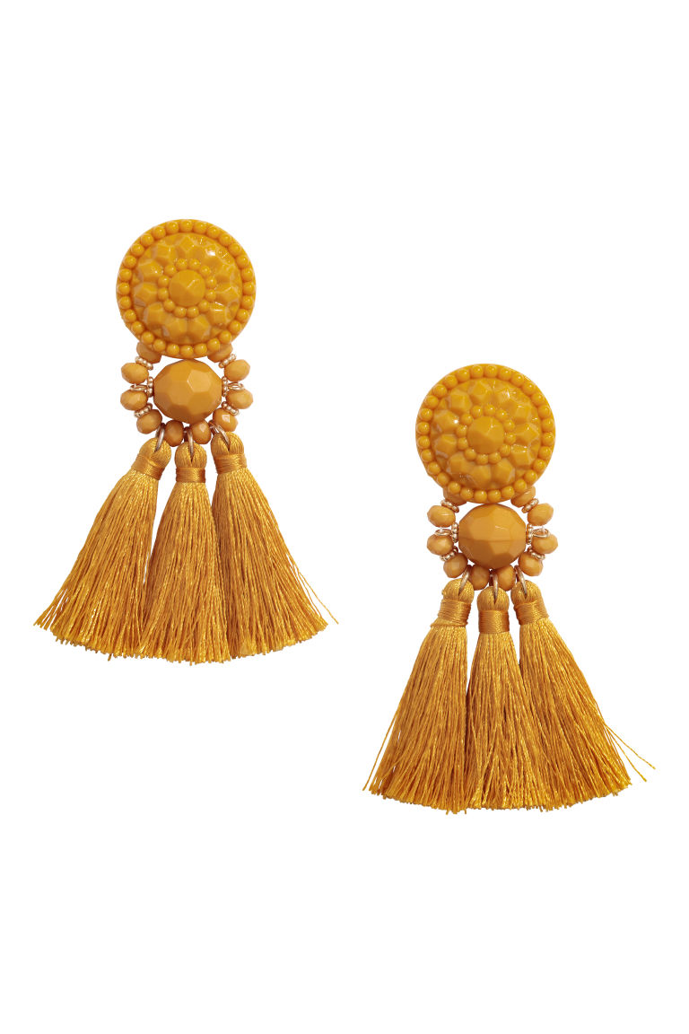Earrings with tassels - Yellow - Ladies | H&M GB
