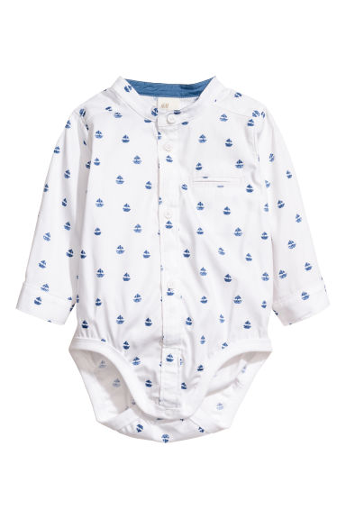 Shirt bodysuit - White/Patterned - Kids | H&M