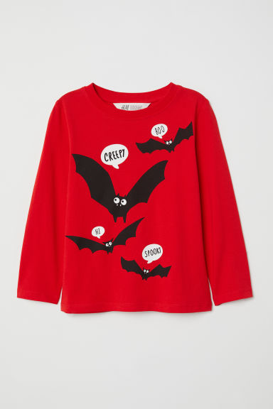Printed top - Red/Bats -  | H&M