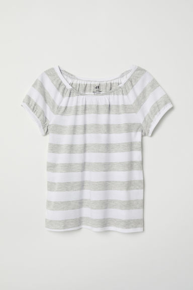Cotton top - White/Striped -  | H&M