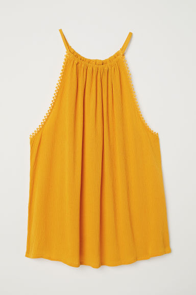 Crinkled top - Yellow - Ladies | H&M CN