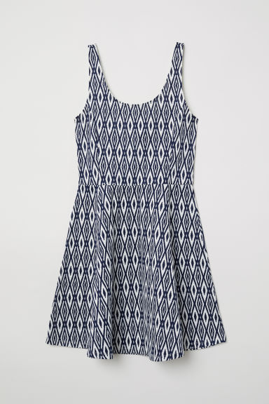 Sleeveless jersey dress - White/Blue patterned - Ladies | H&M CN