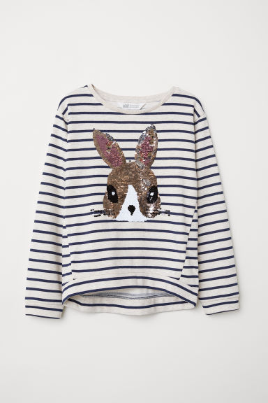 Sweatshirt with Motif - Beige melange/rabbit - Kids | H&M CA