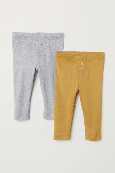 2-pack leggings - Light grey marl/Mustard yellow - Kids | H&M