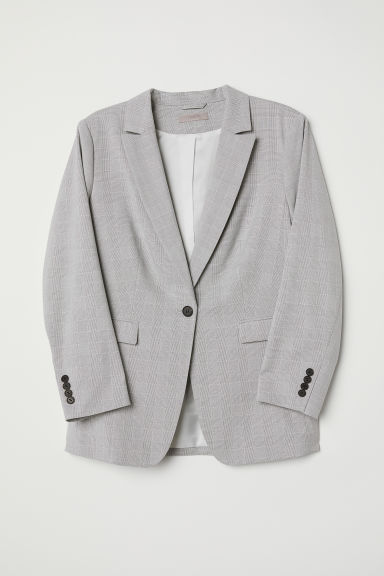 H&M+ Jacket - Light grey/Checked - Ladies | H&M CN