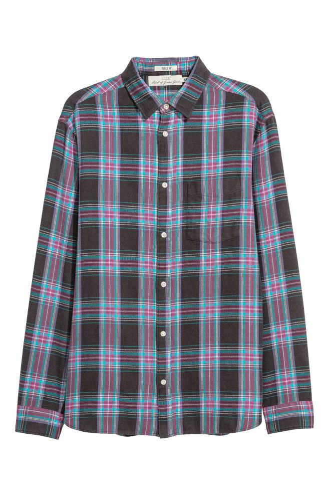 Geruit Overhemd Heren.Geruit Overhemd Regular Fit Donkergrijs Geruit Heren H M Nl
