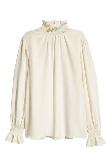 Silk blouse with smocking - White - Ladies | H&M IE