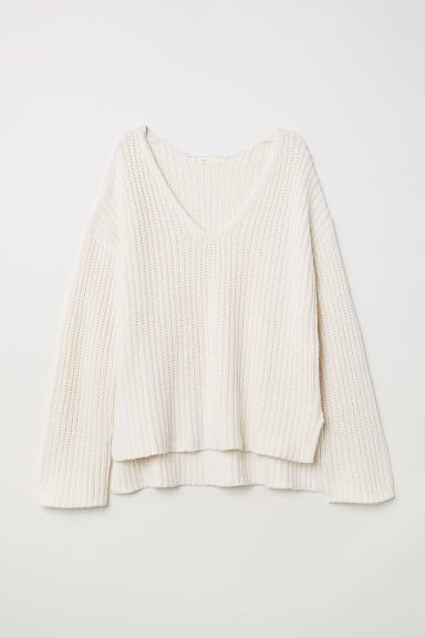 Ribbed jumper - White - Ladies | H&M