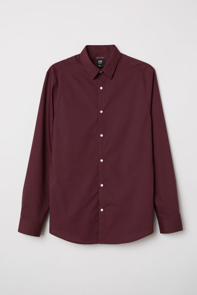 Easy-iron shirt Slim fit - Burgundy - Men | H&M