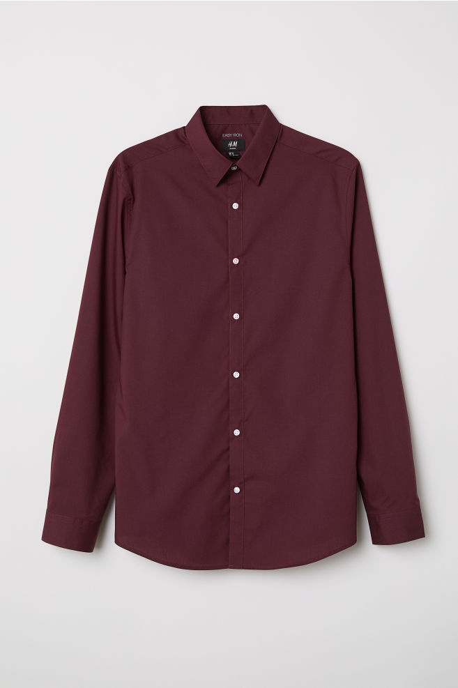 Camisa engomar fácil Slim fit - Bordeaux - HOMEM  c7a16c12201