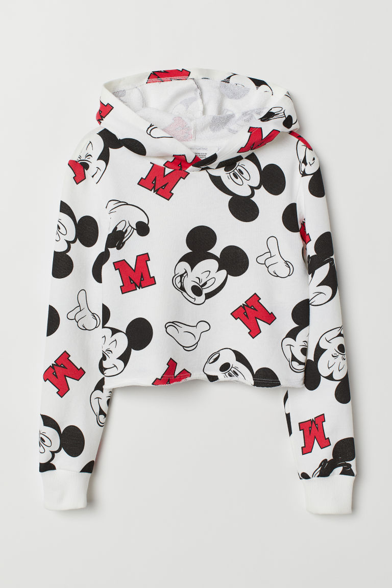 Cropped hooded top - White/Mickey Mouse - Kids | H&M GB