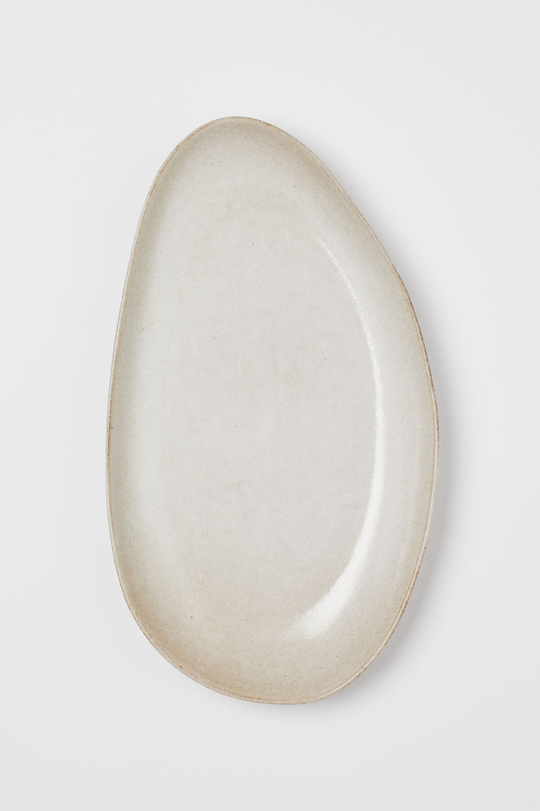 Large Stoneware Serving Dish - Beige - Home All | H&M US