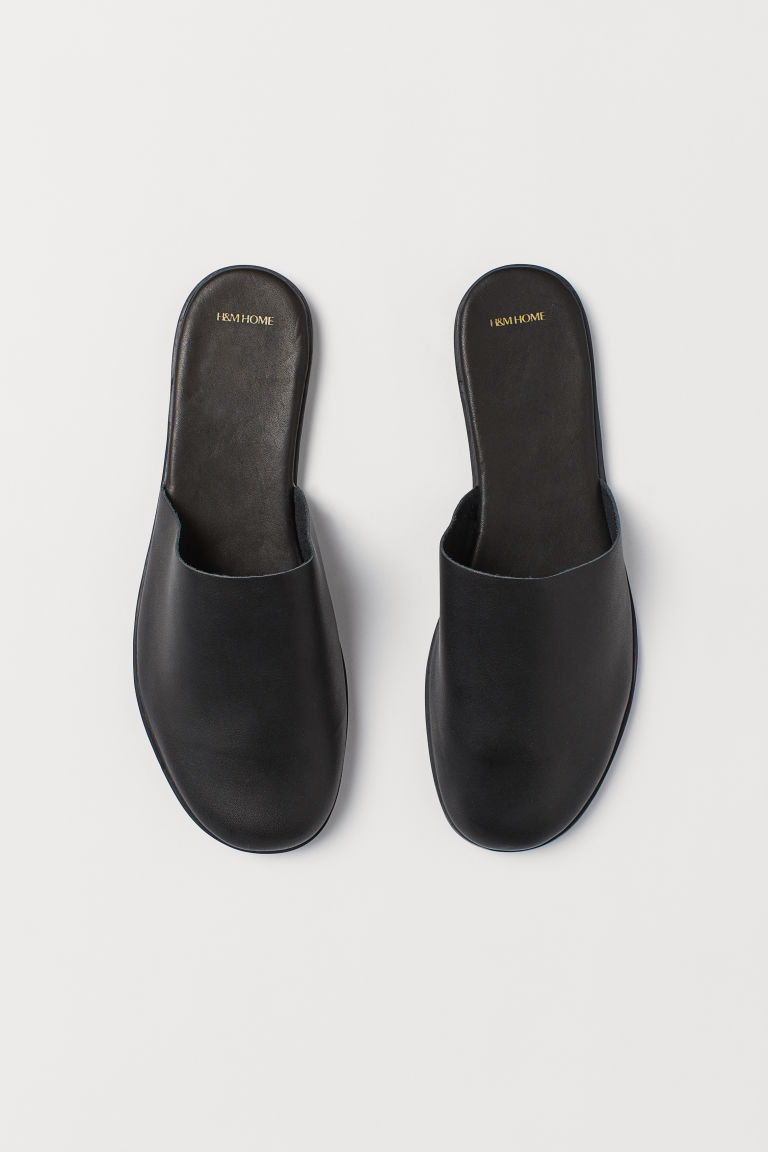 Pantofole in pelle - Nero - HOME | H&M IT