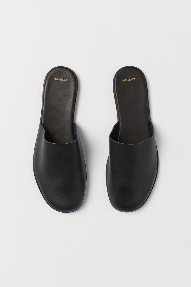 4791485be Leather slippers - Black - Home All | H&M ...