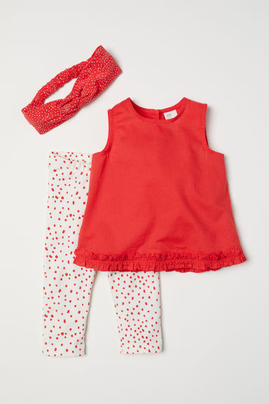 3-piece cotton set - Red/Spotted - Kids | H&M CN