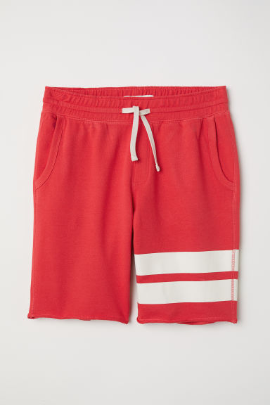 Sweatshirt shorts - Red/Stripes - Men | H&M