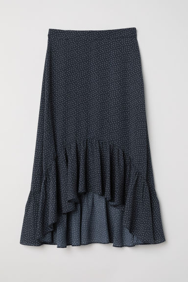 Flounced skirt - Dark blue/Small floral - Ladies | H&M