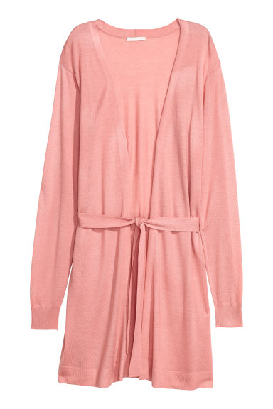 Long cardigan with a tie belt - Light pink -  | H&M IE