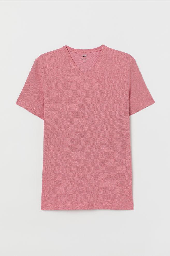 8d2da6cf854 ... Slim Fit V-neck T-shirt - Red melange - Men