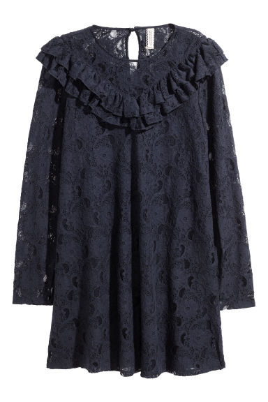 Frilled lace dress - Dark blue -  | H&M CN