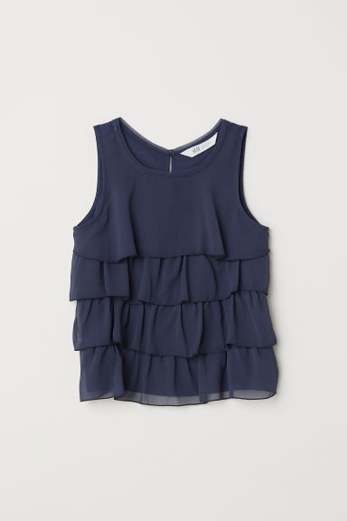 Chiffon top met volants - Donkerblauw -  | H&M BE