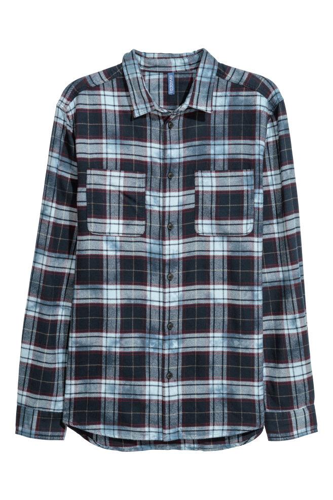 Flannel Shirt Dark Blue Light Blue Men H M Gb