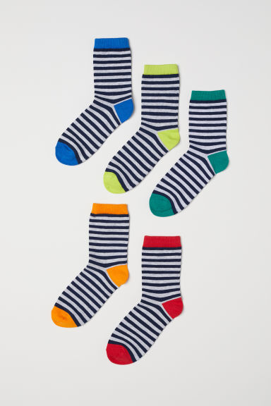 5-pack socks - Light grey/Rainbow colours -  | H&M CN