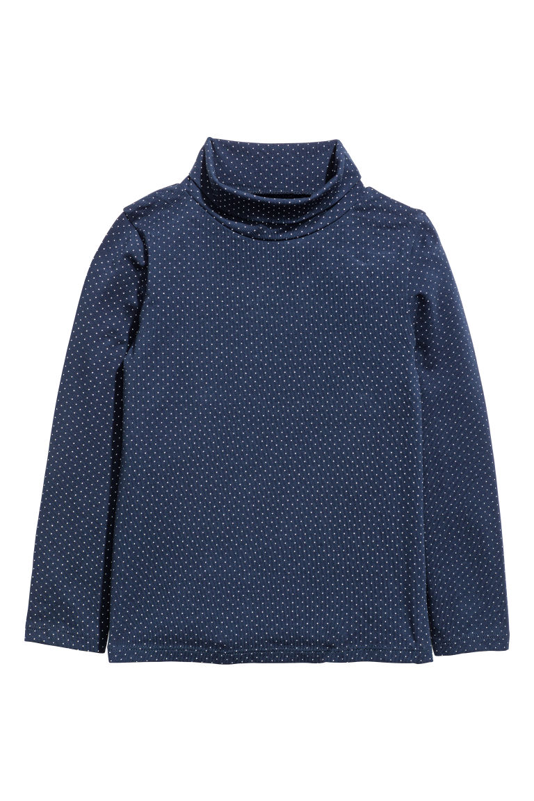 2-pack polo-neck tops - Dark blue/Spotted - Kids | H&M