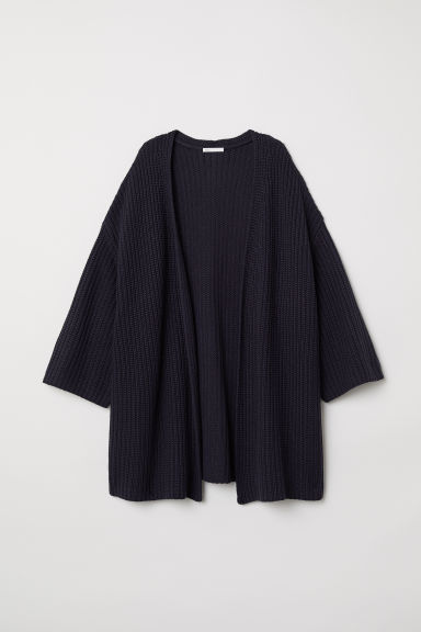 Ribbed cardigan - Dark blue - Ladies | H&M